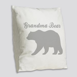 Grandma Bear Burlap Throw Pillow