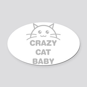 Crazy Cat Baby Oval Car Magnet