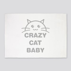Crazy Cat Baby 5'x7'Area Rug