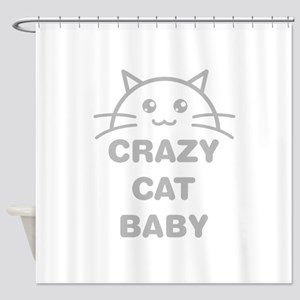 Crazy Cat Baby Shower Curtain