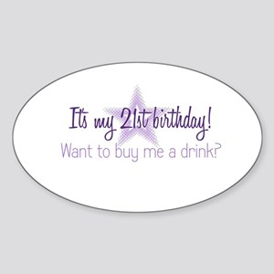 21 Birthday Oval Sticker