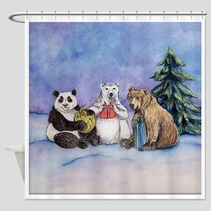 Holiday Bears Art Shower Curtain