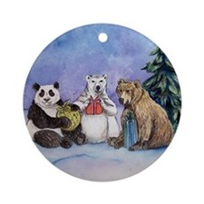 Holiday Bears Art Round Ornament