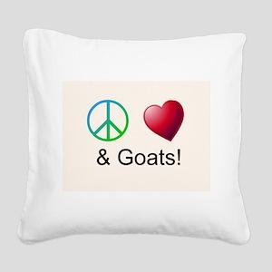 Oeace Love Goats Square Canvas Pillow