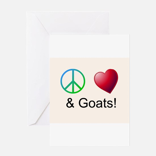 Oeace Love Goats Greeting Cards