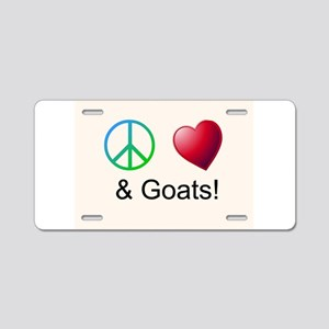 Oeace Love Goats Aluminum License Plate