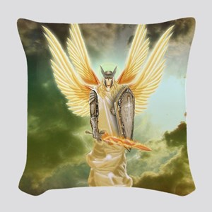 Holy Warrior Angel Woven Throw Pillow
