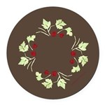 Raspberry Wreath Round Car Magnet