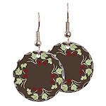 Raspberry Wreath Earring Circle Charm