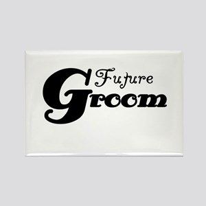 Future Groom Black Rectangle Magnet