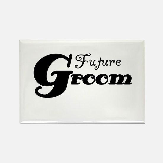 Future Groom Black Rectangle Magnet