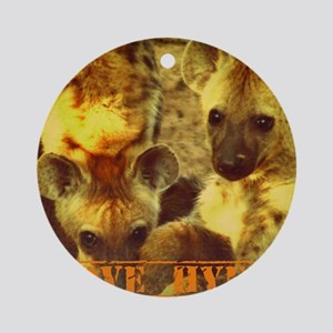 I Love Hyenas Round Ornament