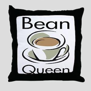 Bean Queen Throw Pillow