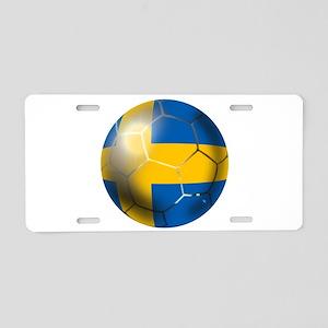 Sweden Soccer Ball Aluminum License Plate