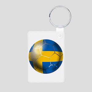 Sweden Soccer Ball Aluminum Photo Keychain