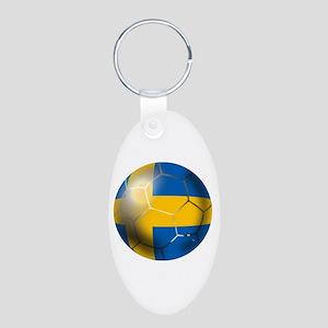 Sweden Soccer Ball Aluminum Oval Keychain
