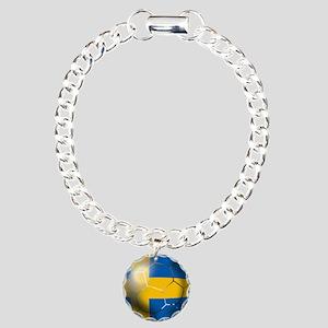 Sweden Soccer Ball Charm Bracelet, One Charm