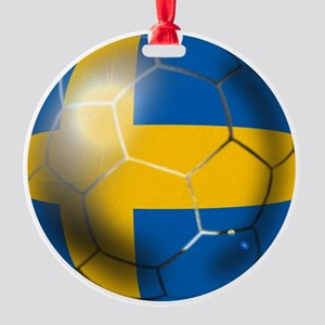 Sweden Soccer Ball Round Ornament