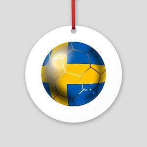 Sweden Soccer Ball Round Ornament