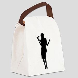 Hairdresser woman girl Canvas Lunch Bag