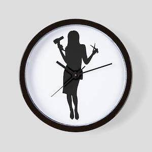 Hairdresser woman girl Wall Clock