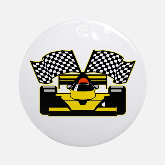 YELLOW RACECAR Round Ornament