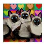 SIAMESE CATS VALENTINE HEARTS tile coaster