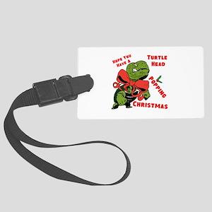 Turtle Head Popping Christmas Luggage Tag
