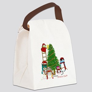5 Owls Decorate a Tree Canvas Lunch Bag