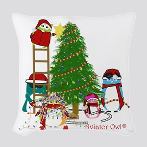 5 Owls Decorate A Tree Woven Throw Pillow