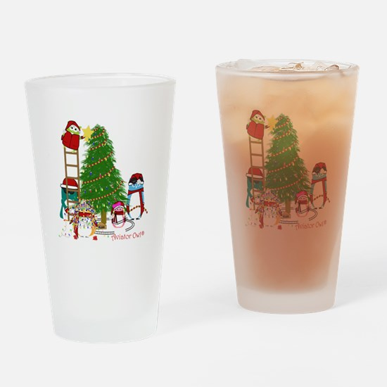 5 Owls Decorate a Tree Drinking Glass