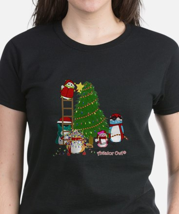 5 Owls Decorate a Tree T-Shirt