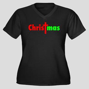 CHRISTmas Women's Plus Size V-Neck Dark T-Shirt