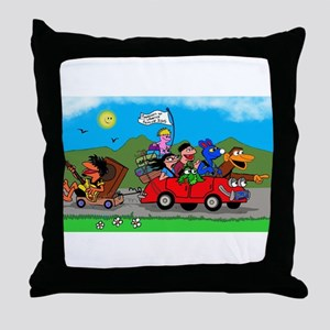 Wolfy and pals Throw Pillow