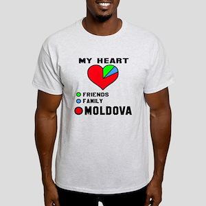 My Heart Friends, Family and Moldova Light T-Shirt
