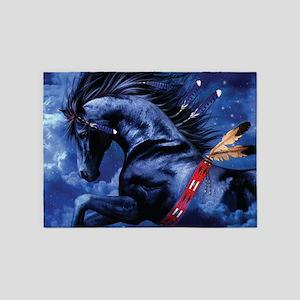 Fantasy Black Horse 5'x7'Area Rug