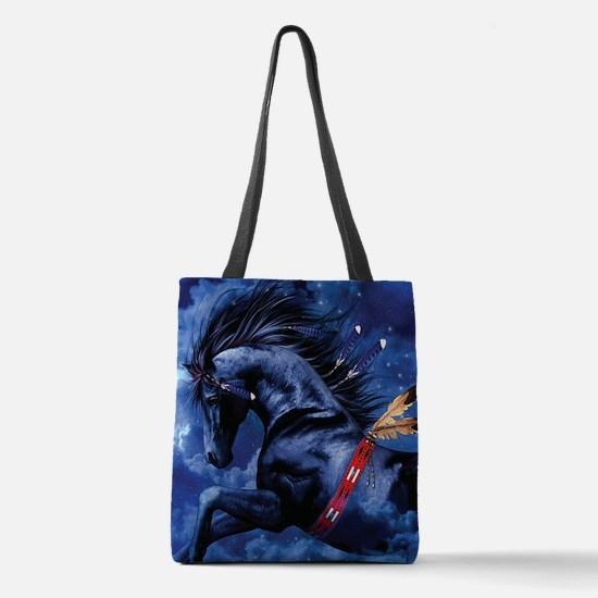 Fantasy Black Horse Polyester Tote Bag