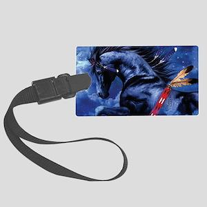Fantasy Black Horse Large Luggage Tag