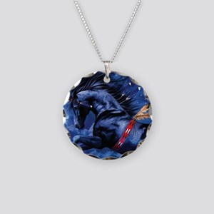 Fantasy Black Horse Necklace Circle Charm