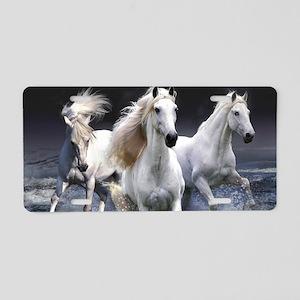 White Horses Running Aluminum License Plate