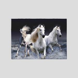 White Horses Running 5'x7'Area Rug