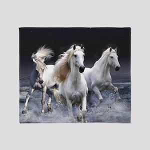 White Horses Running Throw Blanket