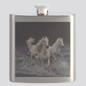 White Horses Running Flask