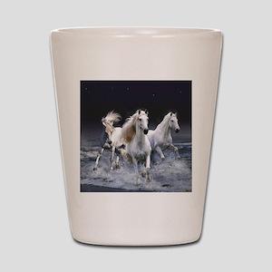 White Horses Running Shot Glass