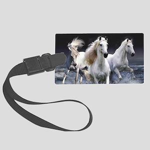 White Horses Running Large Luggage Tag