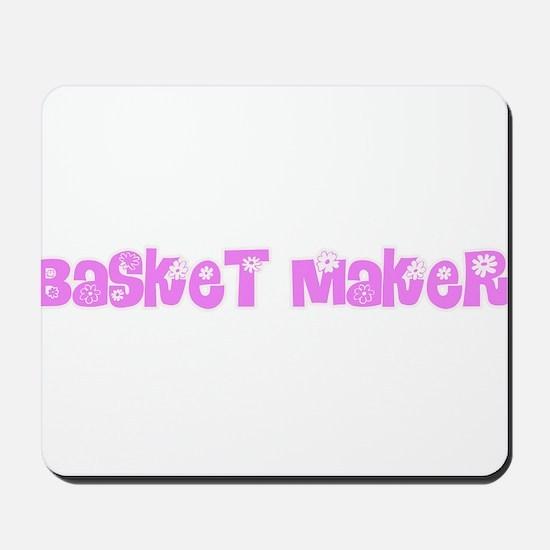 Basket Maker Pink Flower Design Mousepad
