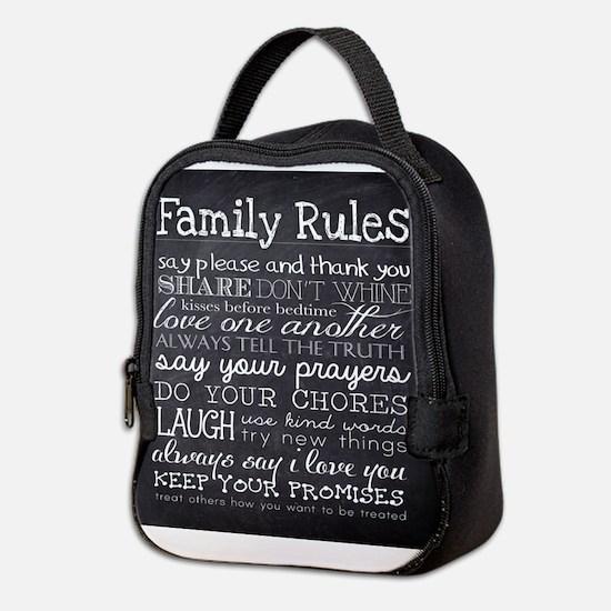 Family Rules Neoprene Lunch Bag
