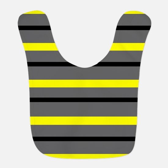 Yellow Gray Stripe Polyester Baby Bib