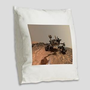 Mars Rover Curiosity Selfie Burlap Throw Pillow