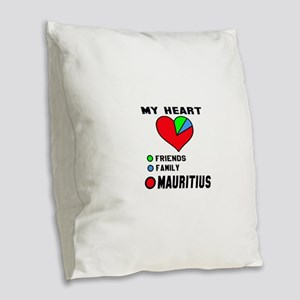 My Heart Friends, Family and M Burlap Throw Pillow
